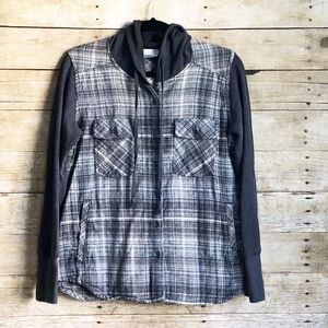 Columbia | black gray and white | hooded flannel